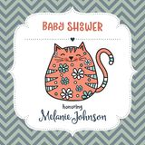 Baby shower card template with fat doodle cat Stock Photos