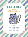 Baby shower card template with fat doodle cat Royalty Free Stock Photo