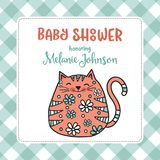 Baby shower card template with fat doodle cat Stock Image