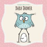 Baby shower card template with funny doodle bird Royalty Free Stock Photography