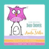 Baby shower card template with funny doodle bird Stock Photos