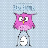 Baby shower card template with funny doodle bird Royalty Free Stock Image