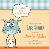 Baby shower card template with funny doodle bird Royalty Free Stock Photos