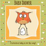 Baby shower card template with funny doodle bird Royalty Free Stock Images
