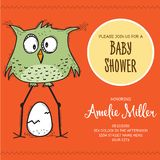 Baby shower card template with funny doodle bird Royalty Free Stock Photo