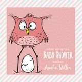Baby shower card template with funny doodle bird Stock Photography