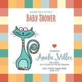 Baby shower card template with funny doodle cat Stock Images