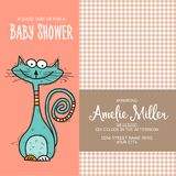 Baby shower card template with funny doodle cat Stock Image