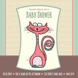Baby shower card template with funny doodle cat Royalty Free Stock Photo