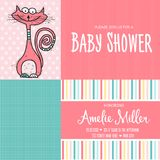 Baby shower card template with funny doodle cat Stock Photos