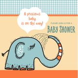Baby shower card template with funny doodle elephant Stock Image