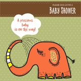 Baby shower card template with funny doodle elephant Stock Photography