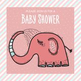 Baby shower card template with funny doodle elephant Stock Photo
