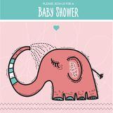 Baby shower card template with funny doodle elephant Stock Photos