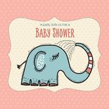 Baby shower card template with funny doodle elephant Royalty Free Stock Photography