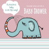Baby shower card template with funny doodle elephant Royalty Free Stock Photos