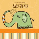 Baby shower card template with funny doodle elephant Royalty Free Stock Images