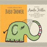 Baby shower card template with funny doodle elephant Royalty Free Stock Photo