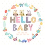 Baby shower card with a text Hello baby Royalty Free Stock Photo
