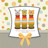 Baby shower card with toys Stock Images