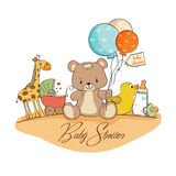 Baby shower card with toys royalty free illustration