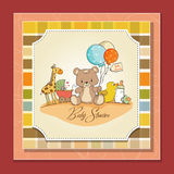 Baby shower card with toys Stock Photos