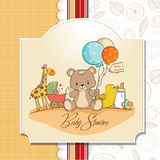 Baby shower card with toys Royalty Free Stock Image