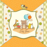 Baby shower card with toys Stock Image