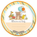 Baby shower card with toys Royalty Free Stock Photography