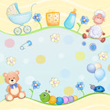 Baby shower card with toys. Royalty Free Stock Photo