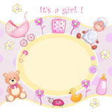 Baby shower card with toys. Stock Photos