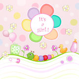 Baby shower card with toys. Stock Image