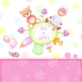 Baby shower card with toys. Royalty Free Stock Images