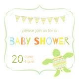 Baby shower card with turtle and flags. Lovely invitation in boho style. Shades of green. Multicolored letters Stock Image