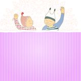 Baby shower card with twins little boy and girl, Stock Image