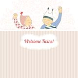 Baby shower card with twins little boy and girl,. Baby shower card with twins little boy and girl sleeping Royalty Free Stock Photography