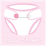 Baby Shower Card With Nappy Stock Photography