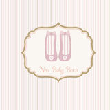 Baby Shower Card With Shoes Royalty Free Stock Images