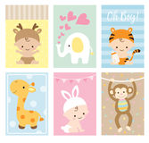 Baby Shower Cards Animal Theme Set. Vector illustration of baby shower greeting card and invitation set in cute animal theme Stock Photo