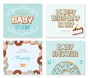 Baby shower cards set for boys. Sweet templates in pastel blue. Vector royalty free illustration