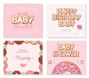 Baby shower cards set for girls. Sweet templates in pastel pink. Vector vector illustration