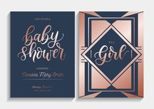 Baby shower cards set with lettering. Modern geometric design wi. Th navy blue and rose gold colors. Elegance invitation for baby shower. Vector illustration vector illustration