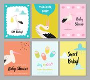Baby Shower Cards Set. Newborn Child Invitation, Congratulation, Poster, Greeting Design with Cute Stork. Happy Birthday. Party Decoration. Vector illustration Royalty Free Stock Image