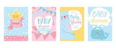 Baby shower cards vector illustration set. Cute invitation cards for newborn boy and girl party. Invitation greeting for. Babies. Becoming parents. Cartoon royalty free illustration