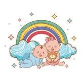 Baby shower cartoon card stock illustration
