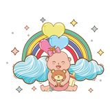 Baby shower cartoon card vector illustration
