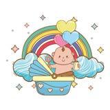 Baby shower cartoon card vector illustration