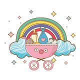 Baby shower cartoon card royalty free illustration