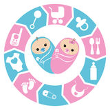 Baby shower cartoon design Royalty Free Stock Photos