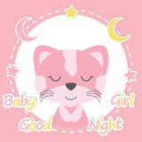 Baby shower  cartoon illustration of cute cat girl on pink. Frame suitable for baby shower invitation card design, wallpaper and postcard Royalty Free Stock Photos